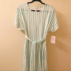 NWT Lularoe XL Marly dress white striped